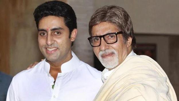 Amitabh Bachchan with his son, Abhishek Bachchan.