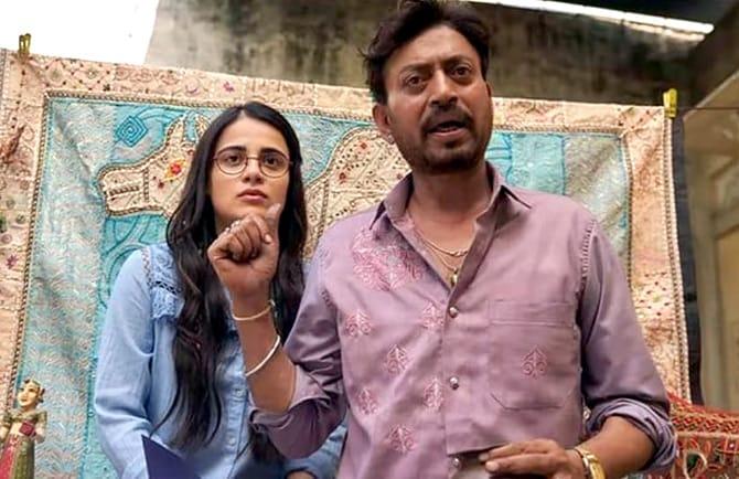 Radhika Madan and Irrfan Khan in a still from Angrezi Medium