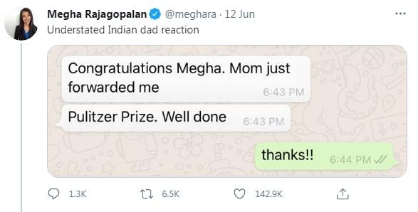 Día del padre 2021: Mega Rajagopalan se une a papá después de ganar el Pulitzer.  (Twitter / கர Nube)