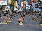 Consulate General of India, New York partnered with the Times Square Alliance to host the International Yoga Day celebrations in Times Square. Over 3,000 people attended the day-long event.(ANI Photo)