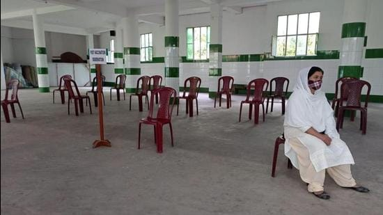 An empty free vaccination centre for women in a city hospital in Meghalaya's capital of Shillong. (HT Photo)