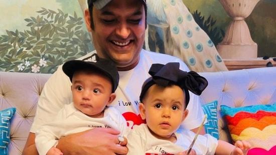 Kapil Sharma with his children Anayra and Trishaan.