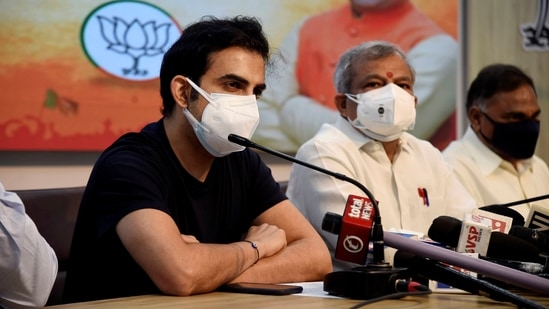 BJP MP Gautam Gambhir speaks during a press conference. (PTI Photo)