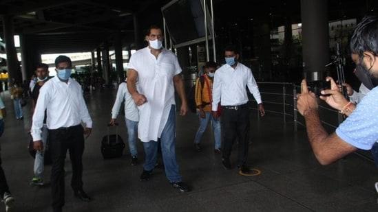 The Great Khali seen at the Mumbai airport.