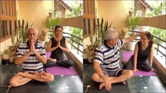 Father's Day 2021: Tisca Chopra and dad bond over Yoga's Padmasana, Bhujangasana(Instagram/tiscaofficial)