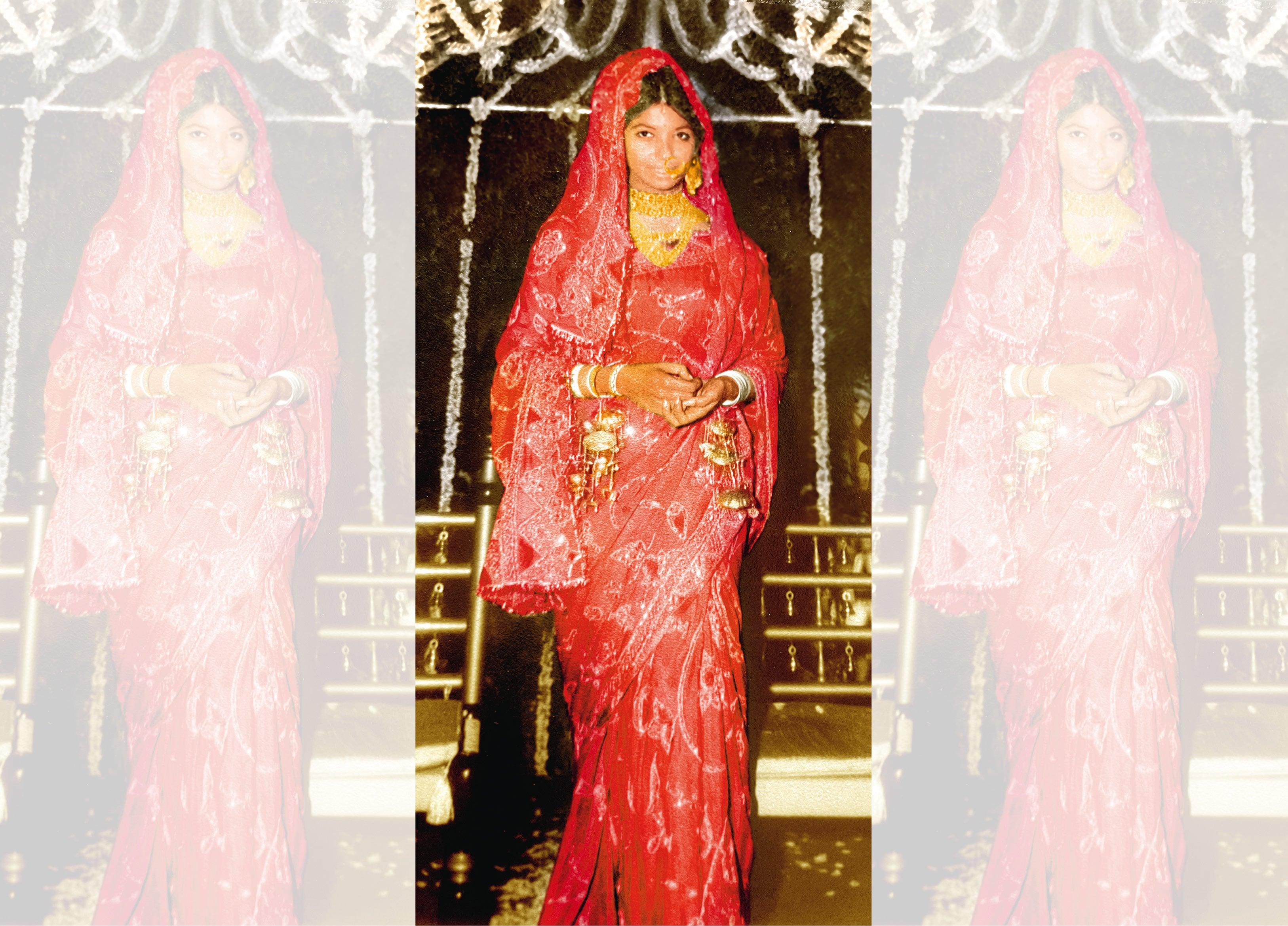 Ritu in her bridal attire wearing bandhani on silk