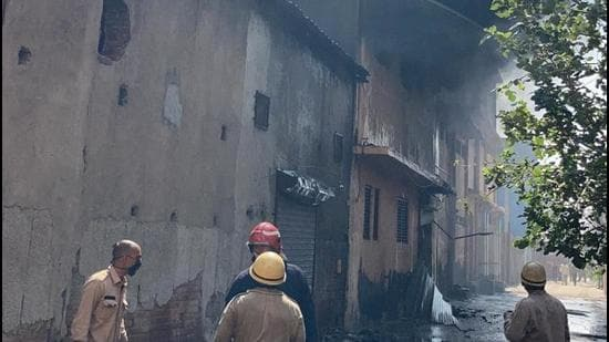 Firefighters at work at shoe factory in Peeragarhi Udyog Nagar in outer Delhi on Monday, June 21. (Delhi Fire Services)