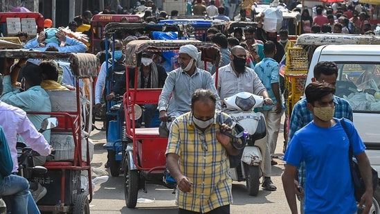 A general view of a crowded market is pictured after the authorities eased a lockdown imposed as a preventive measure against Covid-19, in New Delhi.(AFP)