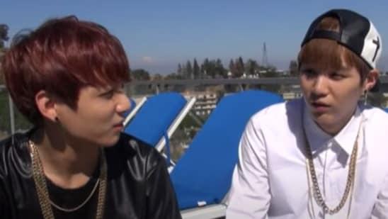 BTS singer Jungkook and rapper Suga from BTS American Hustle Life.