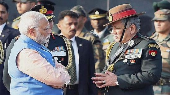 Prime Minister Narendra Modi talking to Gen Bipin Rawat before he took over as Chief of Defence Staff with the mandate of raising theatre commands.