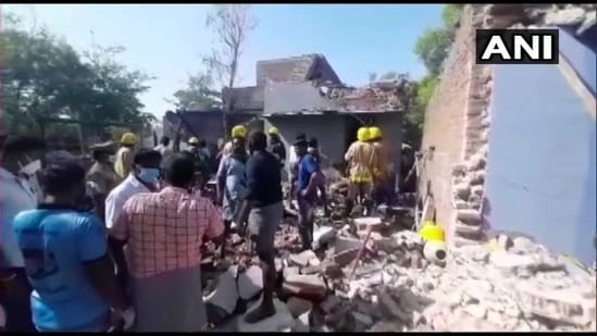 The explosion took place at an illegal firecracker factory near Sivakasi in Tamil Nadu's Virudhunagar district, (ANI Photo)