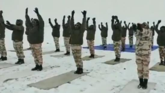 A clip of the ITBP personnel celebrating the International Yoga Day occasion was posted by news agency ANI on Twitter from its official handle. (Screengrab via video posted by ANI)