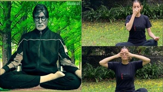 Yoga Day: Amitabh Bachchan, Dia Mirza stress on breathing asanas amid Covid-19(Instagram/amitabhbachchan/diamirzaofficial)