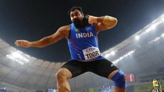 File photo of India's Tejinderpal Singh Toor in action.(REUTERS)