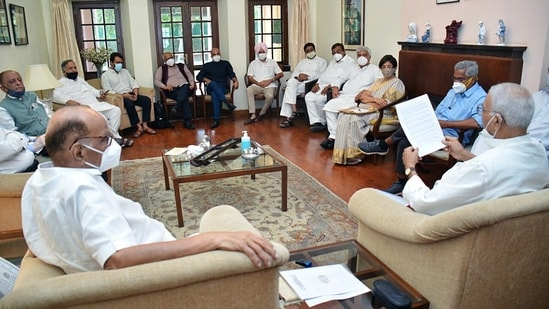 The meeting was called by Trinamool Congress (TMC) leader Yashwant Sinha on behalf of Rashtra Manch, an anti-BJP platform that he co-founded in 2018. In picture - Sharad Pawar along with Yashwant Sinha and other parties leaders.(ANI)