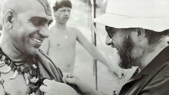 Amrish Puri and Steven Spielberg on the sets of Indiana Jones and the Temple of Doom.