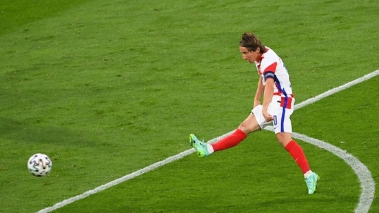 Croatia's Luka Modric scores his side's second goal during the Euro 2020 group D match between Scotland and Croatia at the Hampden Park Stadium in Glasgow..(AP)