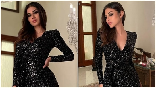 Mouni Roy's <span class='webrupee'>₹</span>27k mini embellished dress gives the sexy LBD an elegant spin(Instagram/@imouniroy)