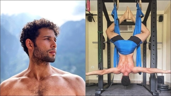 Siddhant Chaturvedi defies gravity, aces inverted pigeon pose during aerial Yoga(Instagram/siddhantchaturvedi)