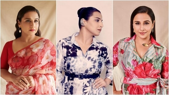 Vidya Balan embraces floral prints for Sherni promotions in 3 breathtaking looks(Instagram/@who_wore_what_when)