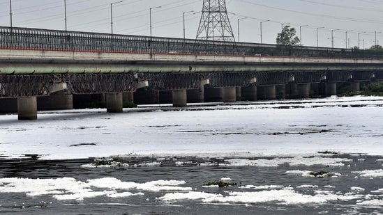 A layer of toxic foam floating on the Yamuna river.(Arvind Yadav/HT FILE PHOTO)