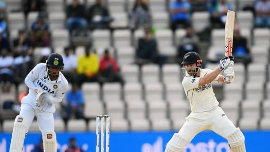 New Zealand Skipper Kane Williamson plays a shot during the World Test Championship final match between New Zealand and India, at the Rose Bowl in Southampton on Wednesday. (ANI Photo)