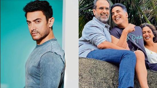 Actors Aamir Khan, Akshay Kumar and Bhumi Pednekar, with filmmaker Aanand L Rai