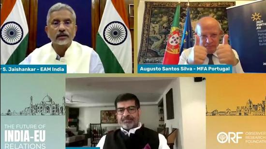 External Affairs Minister Dr S Jaishankar interacts with Professor Augusto Santos Silva, Minister of Foreign Affairs, Portugal and Samir Saran, President, ORF at the Future of India-EU Relations in New Delhi on Wednesday. (ANI PHOTO.)