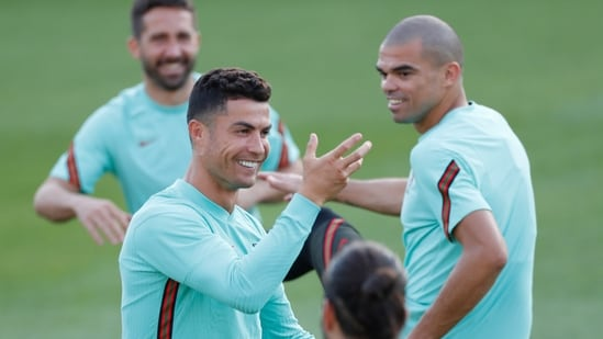 Portugal's Cristiano Ronaldo gestures during a training session in Budapest, Hungary,(AP)