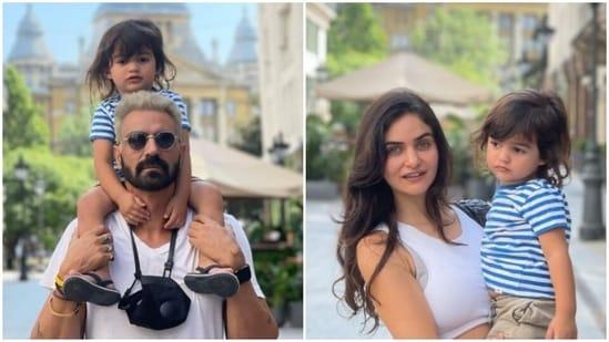 Arjun Rampal with girlfriend Gabriella Demetriades and son Arik in Budapest.