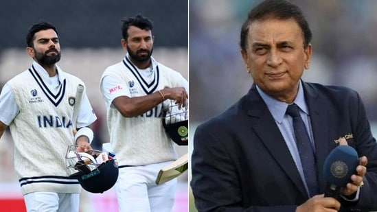 Sunil Gavaskar (R) predicts India's course of action on Day 6 of WTC Final against New Zealand in Southampton(HT Collage)