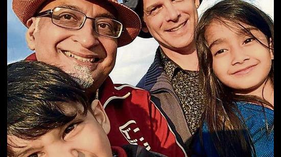Aditya Advani and Michael Tarr with their children