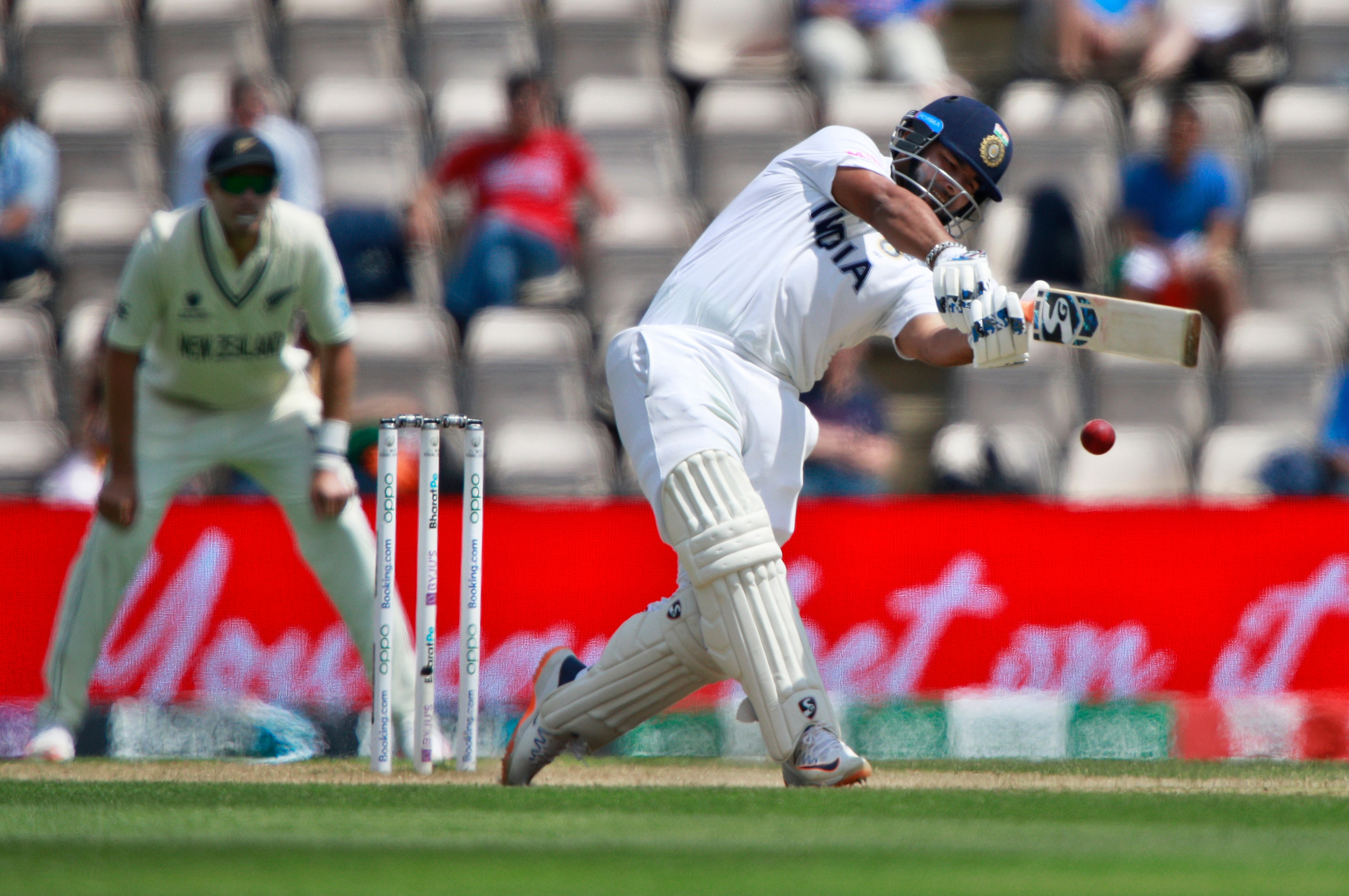 Rishabh Pant plays a shot during the sixth day of the World Test Championship final cricket match between New Zealand and India.(AP)