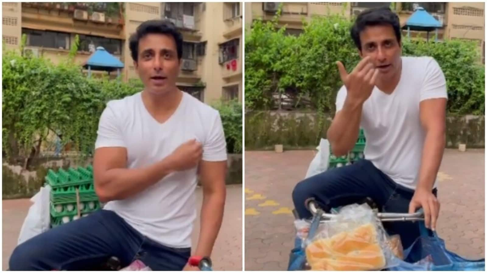 Sonu Sood sells bread and eggs on a bicycle, says 'ekdum hit hai boss'.  Watch video   Bollywood - Hindustan Times