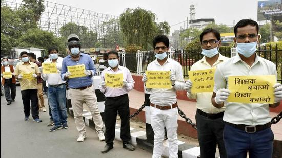 Several candidates protested in Patna on Wednesday alleging irregularities in the merit list for recruitment of secondary school teachers. (HT Photo/Representative/File)