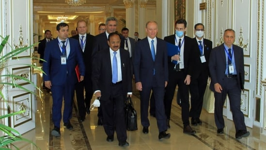 National Security Advisor Ajit Doval at national security chiefs meeting in Dushanbe.