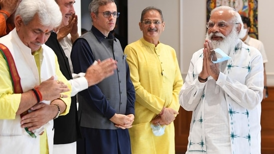 Prime Minister Narendra Modi on Thursday met J&k leaders in Delhi, the first such meeting after the withdrawal of the Article 370.