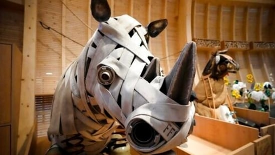 Animals that are made out of recycled material are on display at the interactive exhibit about the story of Noah's Ark, at the Jewish Museum in Berlin, Germany, Monday, June 21, 2021. The Jewish Museum of Berlin is opening a new museum for children between the ages of three and ten.(AP)