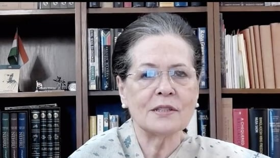 """Congress leader Sonia Gandhi stressed that it was """"absolutely essential that our party plays an active role"""" to ensure full vaccination coverage and encourages people to register for the jabs.(PTI)"""