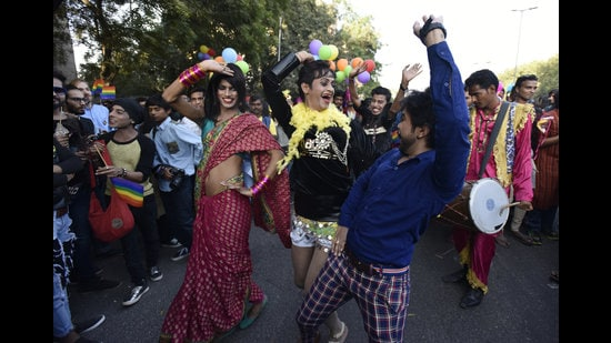 """The Queer Pride Parade in New Delhi on November 27, 2016. """"Hijras do drag labour for queer India, dancing publicly at marches and performing item numbers at melas and pageants during pride month, reinterpreting film songs for our entertainment and nostalgia, but never at the club,"""" writes Kareem Khubchandani. (Virendra Singh Gosain/HT Archive)"""