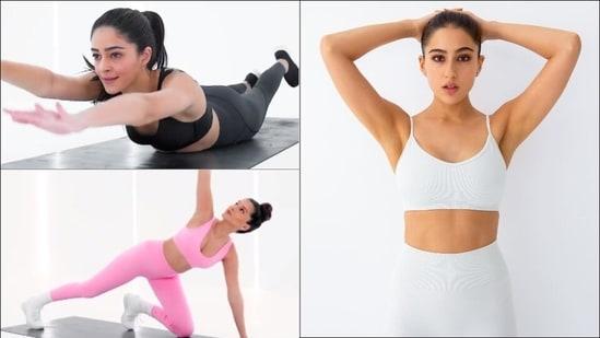 Ananya Panday, Sara Ali Khan, Tara Sutaria drop workouts for exercising at home(Instagram/ananyapanday/saraalikhan95/tarasutaria)