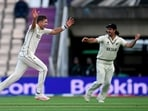 Tim Southee celebrates the wicket of India's Mohammed Shami during the World Test Championship final match. (ANI Photo)