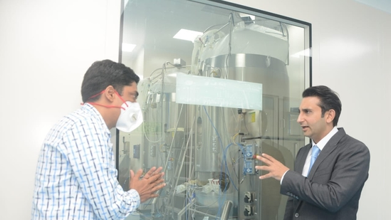 Adar Poonawalla surveying the Covavax manufacturing process at the SII plant. (Adar Poonawalla/Twitter)