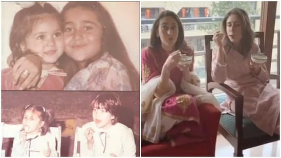 Kareena Kapoor with her elder sister Karisma Kapoor.