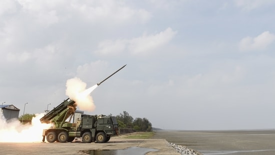 The Defence Research and Development Organisation's Multi-Barrel Rocket Launcher (MBRL) test-fires a Pinaka rocket at Chandipur beach. (PTI Photo)