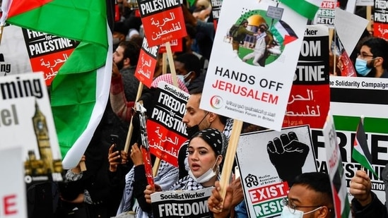Pro-Palestinian demonstrators attend a protest following a flare-up of Israeli-Palestinian violence, in London, United Kingdom. (Reuters / Representational Image)