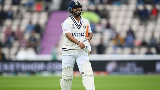 Rishabh Pant walks back after getting out in Southampton. (Getty Images)