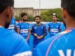 India hockey captain Manpreet Singh with the team.(Hockey India)