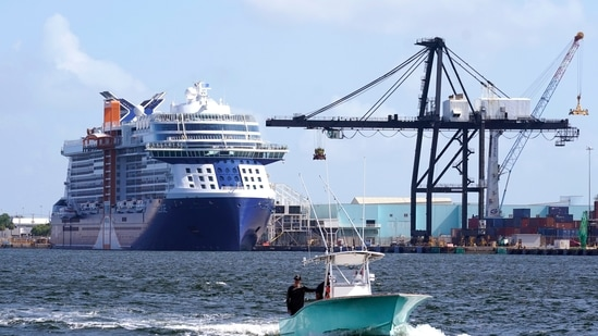 The Celebrity Edge cruise ship is docked at Port Everglades, Tuesday, June 22, 2021, in Fort Lauderdale, Fla. (AP)