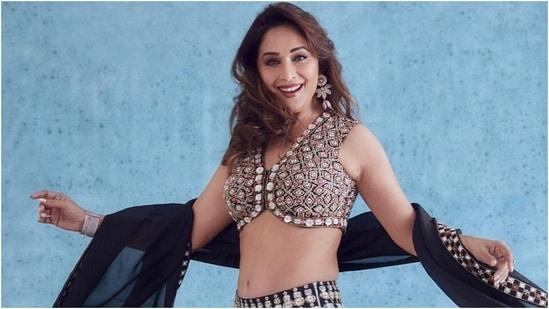 Madhuri Dixit twirls into our hearts in tie-dye silk lehenga set worth <span class='webrupee'>₹</span>53k(Instagram/@madhuridixitnene)